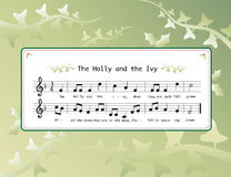 The holly and the ivy. Music for the Christmas carol 'The Holly and the Ivy' on background of holly and ivy leaves Royalty Free Stock Photos