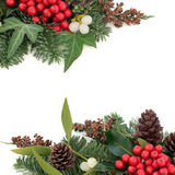 Holly Ivy and Mistletoe Border Stock Photo