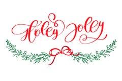 Holly Jolly är den unika handdrawn typografiaffischen Vektorkalligrafikonst Göra perfekt designen för affischer, reklamblad stock illustrationer