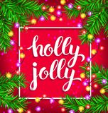 Holly jolly bright composition with glowing garland. Holly jolly bright composition with christmas fir and glowing garland royalty free illustration