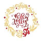 Holly Jolly Calligraphy Lettering röd text och en guld- krusidullkrans med granträdfilialer också vektor för coreldrawillustratio vektor illustrationer