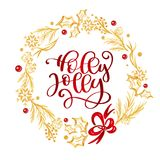 Holly Jolly Calligraphy Lettering red text and a gold flourish wreath with fir tree branches. Vector illustration.  vector illustration