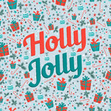 Holly jolly card with seamless pattern. Royalty Free Stock Photography