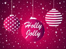 Holly Jolly. Christmas ball and fireworks, sparks with stars.   Royalty Free Stock Image