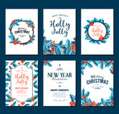 Holly Jolly - Christmas banners set. Vector art. Royalty Free Stock Photo