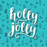 Holly Jolly Christmas hälsningkort vektor illustrationer