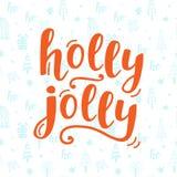 Holly Jolly Christmas hälsningkort med handskriven bokstäver royaltyfri illustrationer