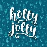 Holly Jolly Christmas hälsningkort med handskriven bokstäver stock illustrationer