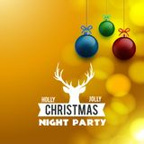 Holly Jolly Christmas Night Party-achtergrond vector illustratie