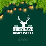 Holly Jolly Christmas Night Party-Hintergrund vektor abbildung