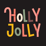 Holly Jolly Colorful typographic poster. Christmas lettering Royalty Free Stock Image