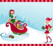 Holly Jolly Elves. Happy little elves help Santa by filling his sleigh with presents stock illustration