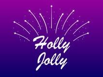 Holly Jolly fyrverkerier på vit bakgrund vektor för illustration för banerjul eps10 vektor stock illustrationer