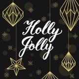 Holly Jolly! Geometrische Weihnachtsdekorationen und -beschriftung Stockbilder