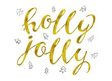 Holly jolly Gold and silver glittering elegant modern brush lettering design on a wight background rastr illustration. Lettering for your designs: posters Stock Photography