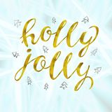 Holly jolly Gold and silver glittering elegant modern brush lettering design on a wight background vector. Lettering for your designs: posters, invitations Stock Images