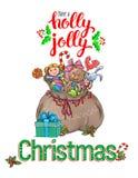 Holly Jolly Greeting Card Fotos de archivo