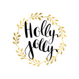 Holly Jolly  greeting card with hand written calligraphic Christmas wishes phrase Stock Photography