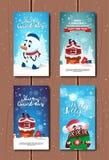 Holly Jolly Greeting Cards Cute Merry-Kerstmis en de Gelukkige Inzameling van Nieuwjaaraffiches Royalty-vrije Stock Afbeelding