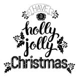 Holly Jolly härlig inskrift stock illustrationer