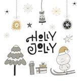 Holly Jolly - hand dragen jul som märker med garnering Gullig gemkonst för nytt år också vektor för coreldrawillustration royaltyfri illustrationer