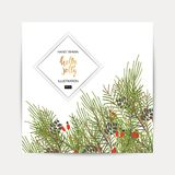 Greeting background with a Christmas tree. Holly Jolly handwriting script lettering. Greeting background with a Christmas tree Stock Photo