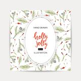 Greeting background with a Christmas tree. Holly Jolly handwriting script lettering. Greeting background with a Christmas tree Stock Images