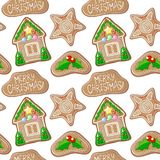 Holly jolly and house gingerbread figurines vector pattern. Christmas gingerbread seamless pattern. On white background. Colorful New Year paper. Christmas gift Stock Image