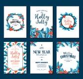 Holly Jolly - julbaneruppsättning ljus vektorvärld för konst stock illustrationer