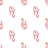 Holly jolly Merry Christmas seamless pattern candy cane. hand drawn in watercolor on white isolated background. Royalty Free Stock Photo