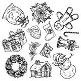 Holly jolly Merry Christmas vector set of icons Royalty Free Stock Images