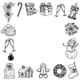 Holly jolly Merry Christmas vector set of icons Stock Photography