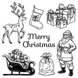 Holly jolly Merry Christmas vector set of icons Stock Image