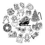 Holly jolly Merry Christmas vector set of icons Royalty Free Stock Photos