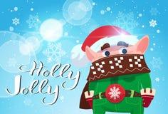 Holly Jolly Poster Merry Christmas Banner gräsplanälva på baner för vinterferie royaltyfri illustrationer