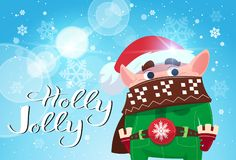Holly Jolly Poster Merry Christmas Banner Green Elf On Winter Holiday Banner Stock Image