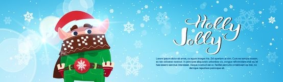 Holly Jolly Poster Merry Christmas Banner Green Elf On Winter Holiday Horizontal Banner. Flat Vector Illustration royalty free illustration