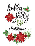 Holly, jolly and red poinsettia. Holly, jolly. Wreath of red poinsettia and leaves. Watercolor illustration vector illustration
