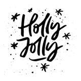 Holly Jolly Xmas Lettering stock illustrationer