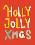 Holly Jolly Xmas Manifesto tipografico variopinto Iscrizione di Natale royalty illustrazione gratis