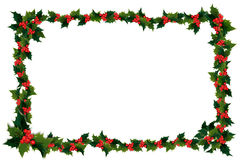 Holly leaf and berry frame Royalty Free Stock Image