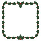 Holly leaf and berry frame Royalty Free Stock Photo