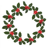 Holly Leaf and Berry Wreath Royalty Free Stock Photos