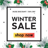 Holly leaf Winter sale square banner royalty free illustration