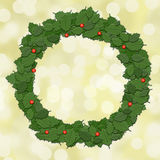 Holly leaf wreath, garland, Christmas decoration. Royalty Free Stock Image