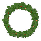 Holly leaf wreath, garland, Christmas decoration.  on wh Stock Photos