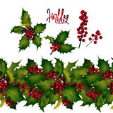 Holly leaves and berries, endless border Royalty Free Stock Photography