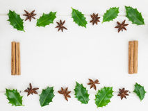 Holly leaves and christmas  spices Royalty Free Stock Images