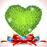 Holly Leaves Heart with Christmas Balls Stock Photos