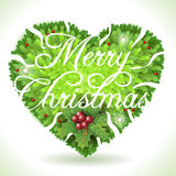 Holly Leaves Heart and Merry Christmas Calligraphic Text Stock Image